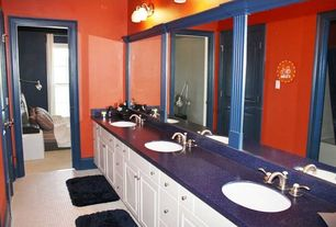 Eclectic Kids Bathroom with Soapstone, Undermount sink, partial backsplash, Kids bathroom, Frameless, Standard height