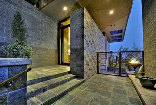 Contemporary Porch with Transom window, French doors, Gate, Wrap around porch, exterior stone floors, Fire pit