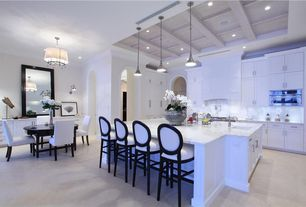 Contemporary Kitchen with Breakfast bar, Breakfast nook, Undermount sink, Flush, Carrara marble countertop, Complex Marble