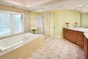 Modern Master Bathroom with Wall Tiles, Master bathroom, Bathtub, frameless showerdoor, Standard height, specialty window