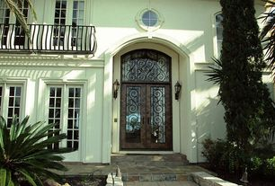 Traditional Front Door with Deck Railing, Transom window, French doors, specialty window, exterior stone floors