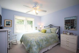 Country Guest Bedroom with Ceiling fan, Carpet