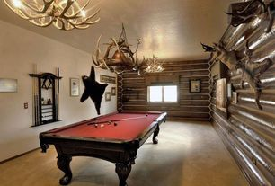 Rustic Game Room with Carpet, Chandelier