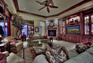 Traditional Living Room with Rock install- brick wall veneer, Crown molding, French doors, stone fireplace, Fireplace, Paint