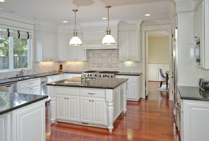 Traditional Kitchen with Laminate floors, Casement, Pendant light, Meta marble and granite - black pearl, full backsplash