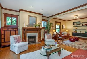 Traditional Living Room with can lights, insert fireplace, flush light, Standard height, Fireplace, Cement fireplace