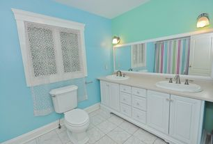 Modern Full Bathroom with Simple Marble, large ceramic tile floors, Framed Partial Panel, Raised panel, Standard height