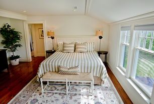 Cottage Guest Bedroom with Dorchester Benches, Hardwood floors