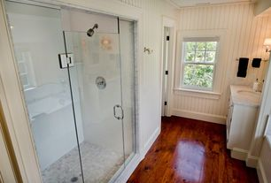 Cottage Full Bathroom with Blackford & Sons Antique Heart Pine Flooring, Steam showerhead, Complex marble counters