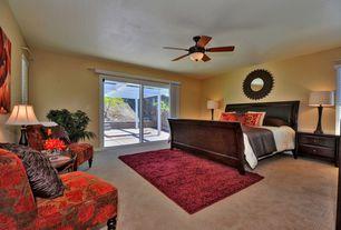 Modern Guest Bedroom with Carpet, Ceiling fan, flush light