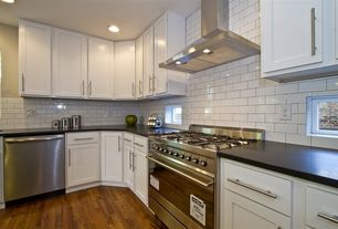 Traditional Kitchen with Hardwood floors, Oak - Haystack 2 1/4 in. Solid Hardwood Strip, L-shaped, Large Ceramic Tile