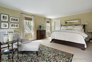 Traditional Guest Bedroom with Crown molding, Carpet
