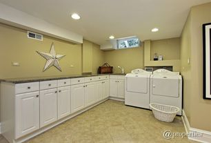 Contemporary Laundry Room with specialty window, laundry sink, can lights, Paint, Daltile jurastone beige l711, drop-in sink