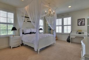 Contemporary Guest Bedroom with Standard height, double-hung window, Chandelier, Carpet, can lights