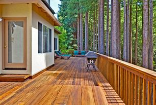 Rustic Deck with Outdoor kitchen, French doors