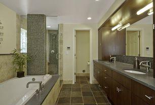 Contemporary Full Bathroom with drop in bathtub, partial backsplash, Casement, Shower, Standard height, can lights, Flush