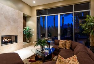 Modern Living Room with French doors, High ceiling, Transom window, travertine floors