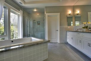 Contemporary Master Bathroom with Handheld showerhead, Master bathroom, frameless showerdoor, Simple granite counters