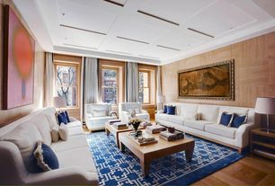 Contemporary Living Room with Box ceiling, Hardwood floors