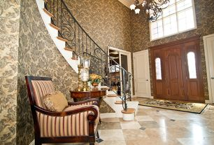 Eclectic Entryway with Chandelier, interior wallpaper, Cathedral ceiling