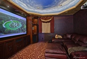 Eclectic Home Theater with Crown molding, Carpet, Mural