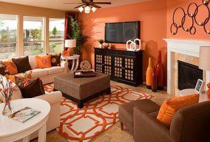 Contemporary Living Room with Uttermost kadoka metal candelabra, flush light, Ceiling fan, Concrete tile , Carpet