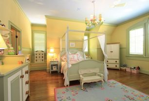 Traditional Kids Bedroom with Wainscotting, Chandelier, Crown molding, Laminate floors, Chair rail