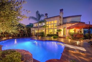 Mediterranean Swimming Pool with French doors, Gate, sliding glass door, Other Pool Type, double-hung window, Casement