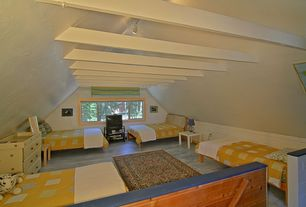 Cottage Guest Bedroom with Casement, no bedroom feature, Standard height, Exposed beam, Laminate floors, Carpet