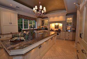 Traditional Kitchen with Large Ceramic Tile, Raised panel, Undermount sink, U-shaped, Granite kozmus polished, Chandelier