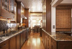 Traditional Kitchen with gas range, Flat panel cabinets, Glass Tile, Undermount sink, Framed Partial Panel, One-wall