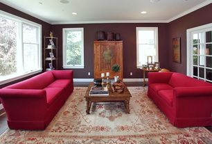 Eclectic Living Room with Standard height, Carpet, can lights, double-hung window, Crown molding