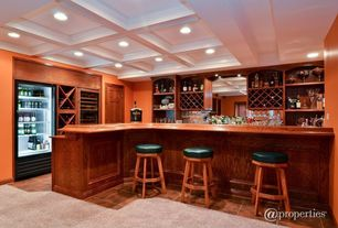 Traditional Bar with six panel door, Box ceiling, Kingsbottle 120 Bottle Compressor Dual Zone Wine Cooler, Paint 2, Paint 1
