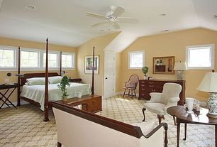 Traditional Master Bedroom with Standard height, Carpet, bedroom reading light, Ceiling fan, Casement, six panel door