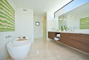 Contemporary Full Bathroom with European Cabinets, Frameless, wall-mounted above mirror bathroom light, Shower, Freestanding