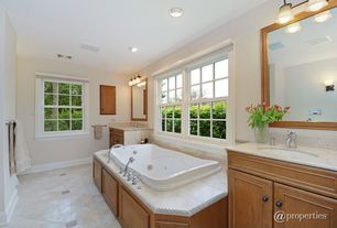 Traditional Full Bathroom with Raised panel, Complex Marble, Powder room, Undermount sink, Complex marble counters