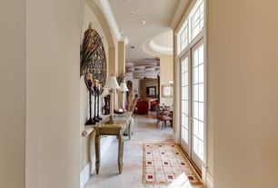 Eclectic Entryway with Transom window, Crown molding, Ceiling fan, Carpet, Concrete tile , French doors
