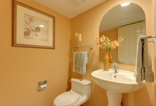 Traditional Powder Room with Signature hardware gretchen pedestal sink, six panel door, Powder room, Undermount bathroom sink
