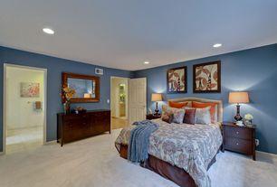 Modern Guest Bedroom with Ceiling fan, Carpet, can lights, six panel door, Standard height
