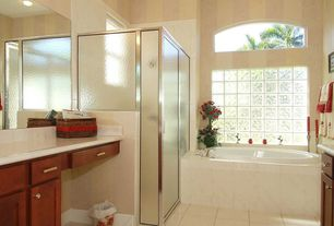 Modern Full Bathroom with Custom shower, Simple marble counters, flush light, Arched window, Chrome cabinet hardware