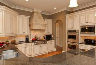 Traditional Kitchen with Undermount sink, can lights, double wall oven, Framed Partial Panel, flush light, Raised panel