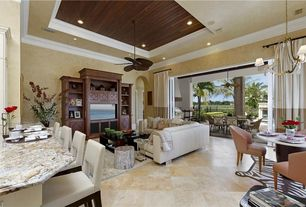 Eclectic Great Room with Chandelier, Crown molding, Ceiling fan