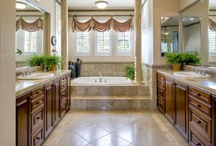 Traditional Full Bathroom with Complex Granite, Frameless, Raised panel, Powder room, flush light, Complex granite counters