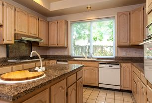 Traditional Kitchen with electric cooktop, Casement, U-shaped, built-in microwave, full backsplash, Simple Granite