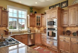 Country Kitchen with dishwasher, Flat panel cabinets, Hardwood floors, Undermount sink, Simple granite counters, L-shaped
