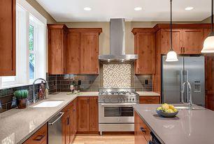 Modern Kitchen with Standard height, L-shaped, gas range, dishwasher, Built In Refrigerator, Stone Tile, full backsplash