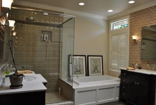 "Modern 3/4 Bathroom with Inset cabinets, Kohler Caxton 17"" Undermount Bathroom Sink with Overflow, Undermount sink"