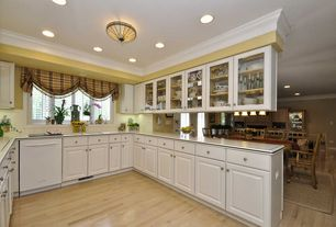 Country Kitchen with Raised panel, Standard height, Large Ceramic Tile, Undermount sink, dishwasher, full backsplash