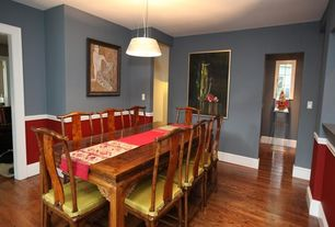 Eclectic Dining Room with Pendant light, Hardwood floors, Paint 1, Whiskey Barrel Oak Leg Dining Table, Paint 2, Chair rail