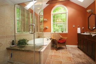 Traditional Master Bathroom with Ceramic Tile, Skylight, Master bathroom, High ceiling, Flat panel cabinets, Arched window